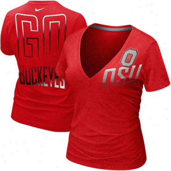 Nike Ohio State Buckeyes Laddies Check The Back Tri-blend V-neck T-shirt - Scarlet