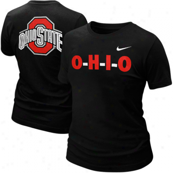 Nike Ohio Station Buckeyes Lzdies O-h-i-o T-shirt - Black