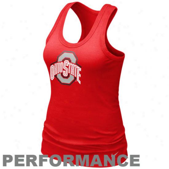 Nike Ohio State Buckeyes Ladies Scarlet Dri-fit Got Your Back Racerback Performance Tank Top