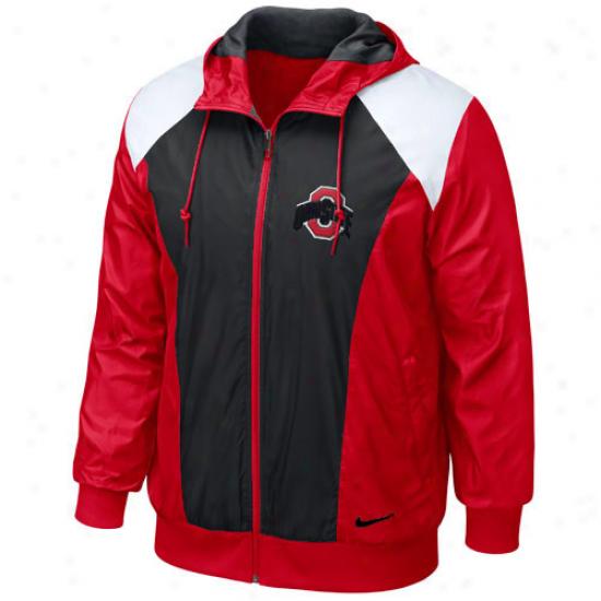 Nike Ohio State Buckeyes Scarlet Classic Full Zip Hoodie Wind Jacket