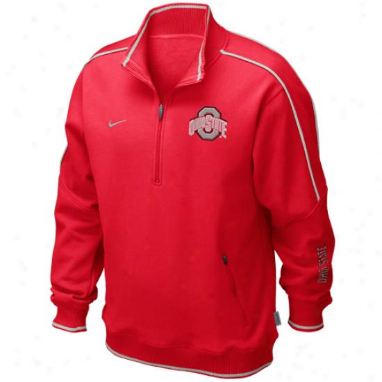 Nike Ohio State Buckeyes Scarlet Conference Star Quarter Zip Pullover Fleece Sweatshirt