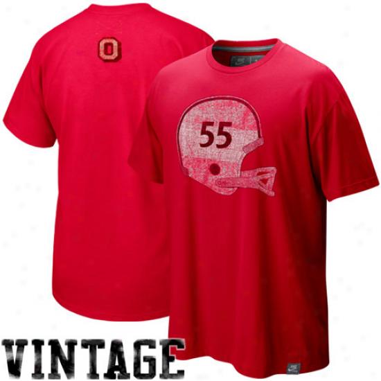 Nike Ohio State Buckeyes Scarlet Football Vault Washed Organic T-shirt