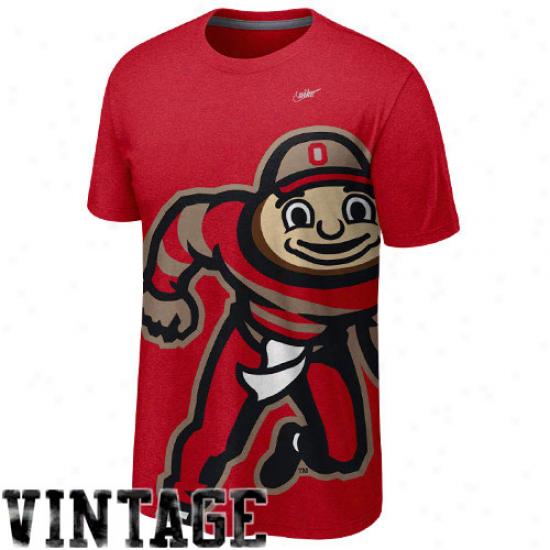 Nike Ohio State Buckeyes Vault Big Logo Crew Tri-blen T-shirt - Scarlet