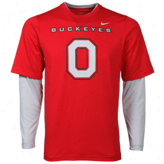 Nike Ohio State Buckeyes Y0uth Splitter Double Layer T-shirt-scarlet-gray