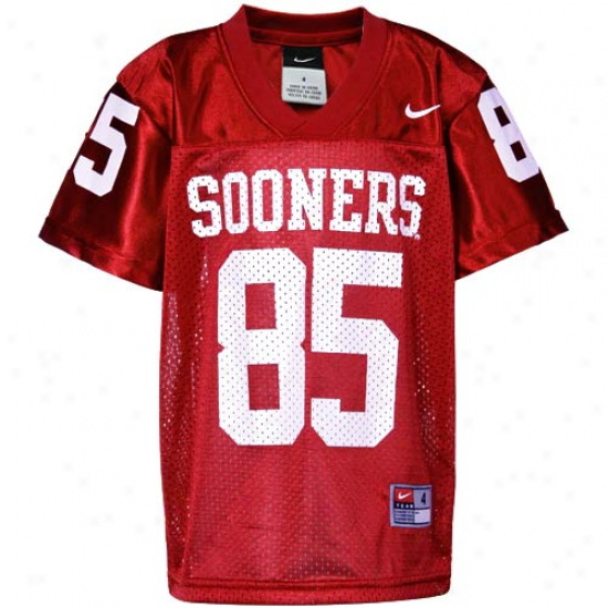 Nike Oklahoma Sooners #85 Preschool Replica Football Jersey-crimson