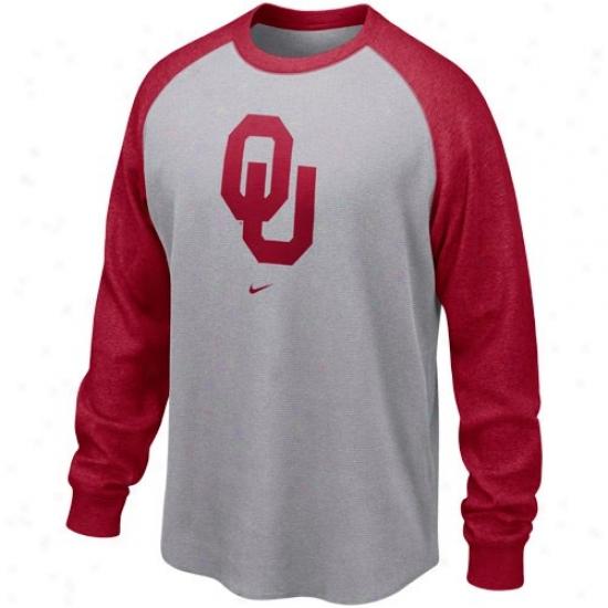 Nike Oklahoma Sooners Ash-crimson Washed Waffle Long-winded Sleeve Thermal T-shirt