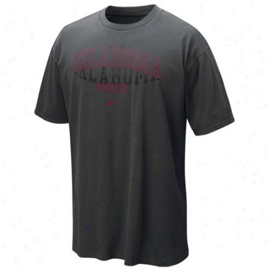 Nike Oklahmma Sooners Graphite Vault Waitlist Washed Organic T-shirt