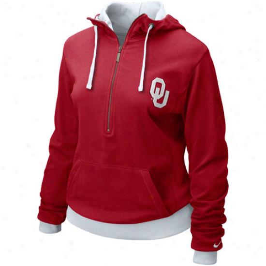 Nike Oklahoma Sooners Ladies Crimson Lougin' Half Zip Hoody Jacket