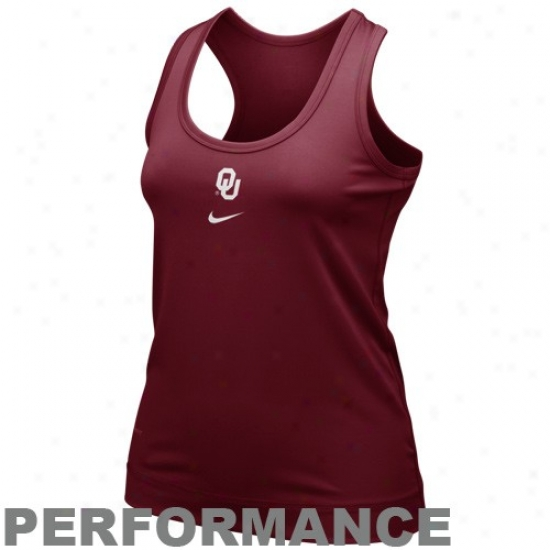 Nike Oklahoma Sooners Ladies Crimson Nikefit Racerback Performance Tank Top