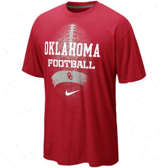 Nike Oklahomma Sooners Seasonal Football Ii Heathered T-shirt - Crimson