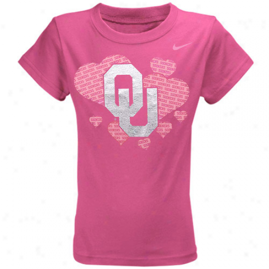 Nike Oklahoma Sooners Youth Girls Heart T-shirt - Pink