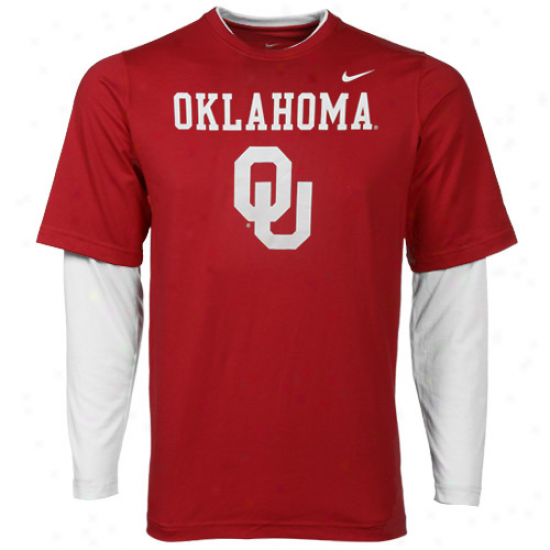 Nike Oklahoma Sooners Youth Splitter Double Layer T-shirt-crimson-white