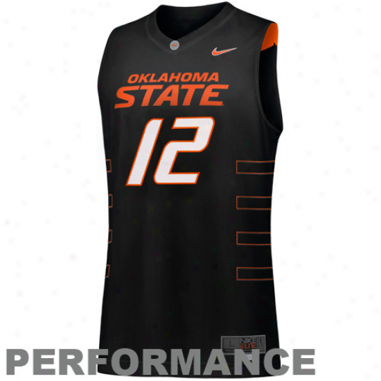 Nike Oklahoma State Cowboys #12 Elite Tackle Twill Performance Basketall Jersey-black