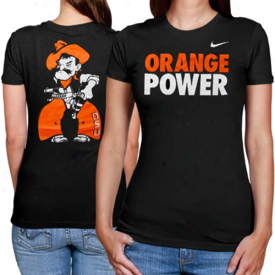 Nike Oklahoma State Cowboys Ladies Orange Power T-shirt - Black