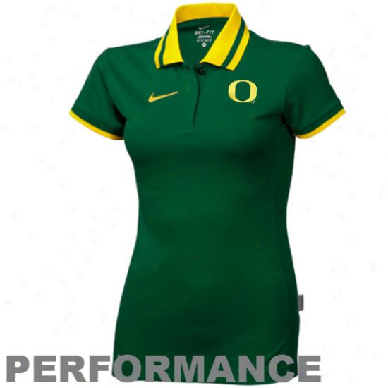Noke Oregon Ducks Ladies Green Sideline Performance Polo