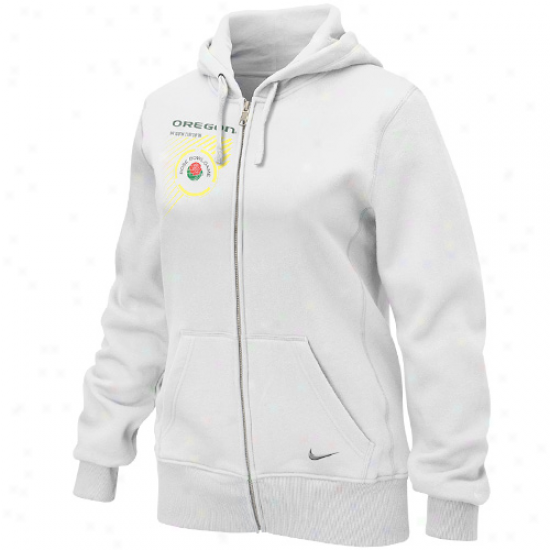 NikeO regon Ducks Ladies White 2012 Rose Biwl Bound Full Zip Hoodie Sweatshirt