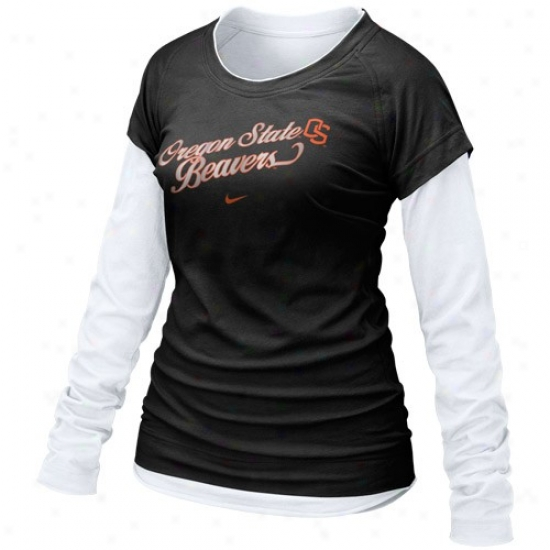Nike Oregon State Beavers Ladies Black Cross Campus Double Layer Long Sleeve T-shirt
