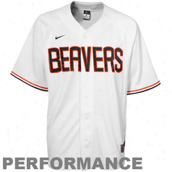 Nike Oregon State Beavers White Performance Replica Baseball Jersey