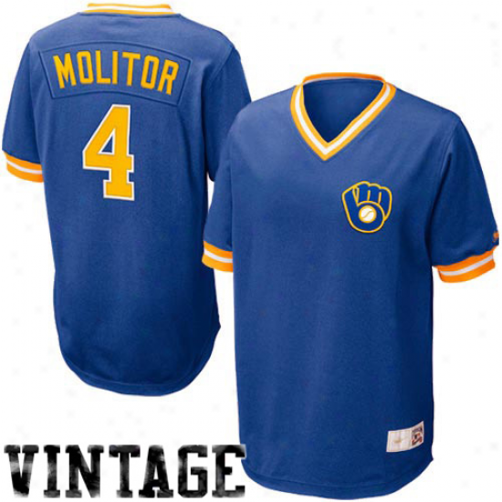 Nike Paul Molitor Milwaukee Brewers Cooperstown Throwback Jersey - Royal Blue
