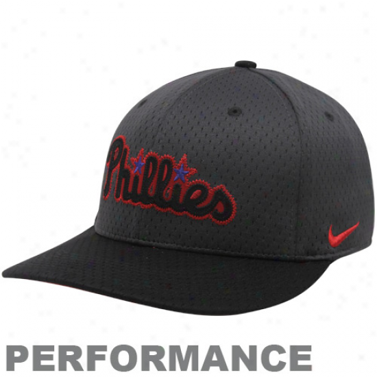 Nike Philadelphia Phillies Black Mesh Performance Flex Hat
