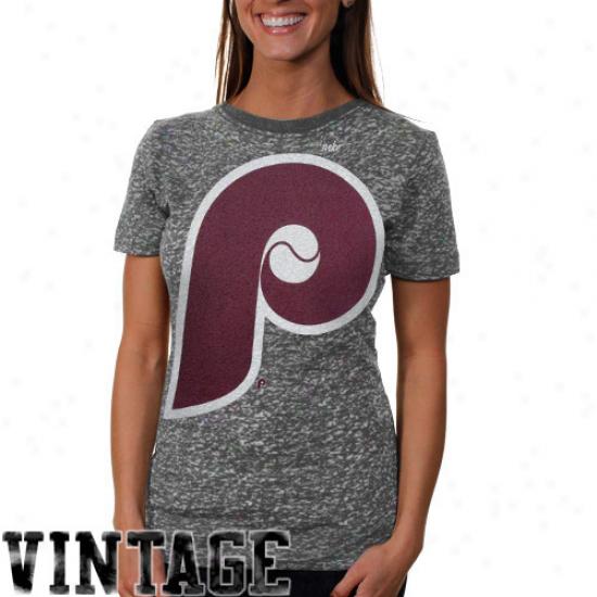 Nike Philadelphia Phillies Ladies Big Logo Premium Burnout T-shirt - Charcoal