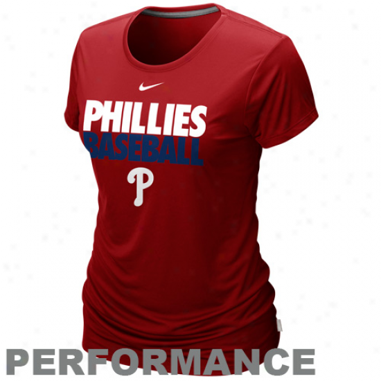 Nike Philadelphia Phillies Ladies Dri-fit Cotton Performance T-shirt - Red
