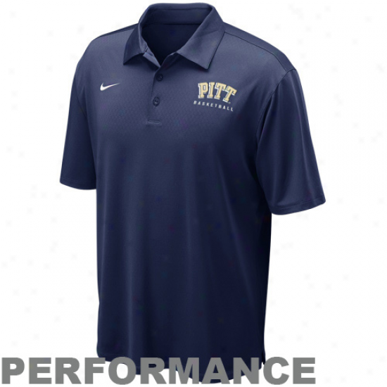 Nike Pittsburgh Panthers Navy Blue Coaches Basketball Performance Polo