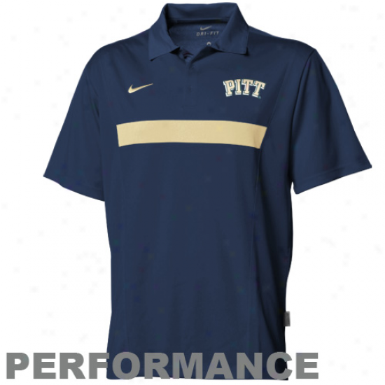 Nike Pittsburgh Panthers Navy Blud Coaches Spread Option Performance Polo