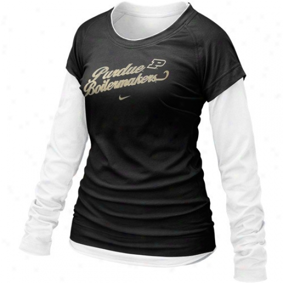 Nike Purdue Boilermakers Ladies Murky Cross Campus Double Layer Long Sleeve T-shirt