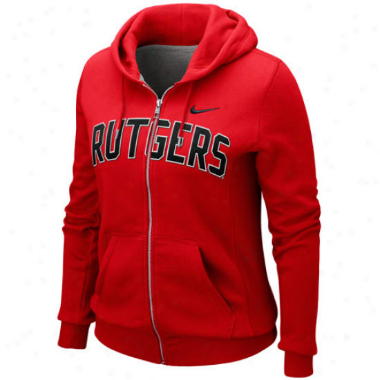 Nike Rutgers Scarlet Knights Ladies Scarlet University Classic Full Zip Hoodie Sweatshirt
