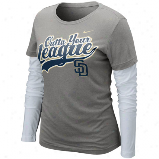 Nike San Diego Padres Ladies League Double Layer Long Sleeve T-shirt - Charcoal-white