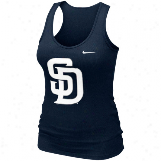 Nike San Diego Padres Ladies Logo Shine Premium Tank Top - Ships Blue
