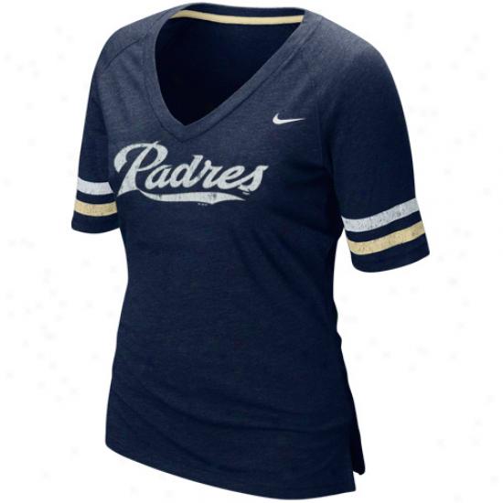 Nike San Diego Padres Ladies Mlb Replica V-neck Premium T-shiry - Navy Blie