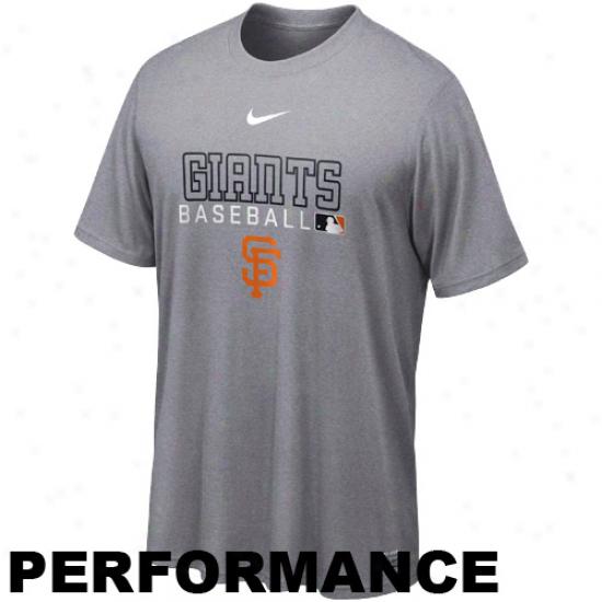 Nike San Francisco Giants Dri-fit Team Distribute Legend Performance T-qhirt - Ash