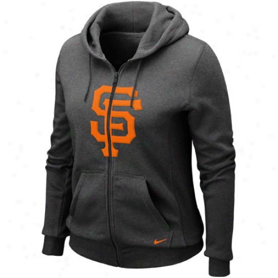 Nie San Francisco Giants Ladies Charcoal Seasonal Shine Full Zip Hoodie Sweatshirt