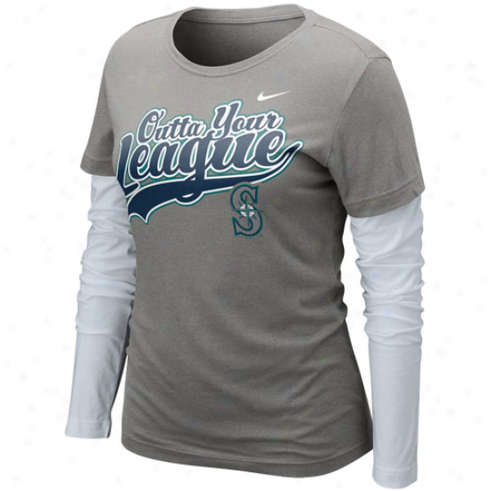 Nike Seattle Mariners Ladies Lesgue Double Stratum Long Sleeve T-shirt - Charcoal-white