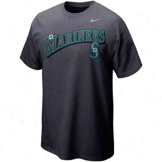 Nike Seattle Mariners Seasonal Felt Heathered T-shirt - Charcoal