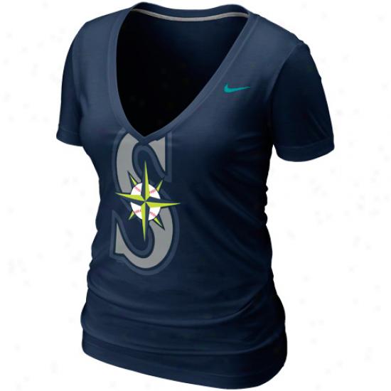 Nike Seattle Mariners Womens Deep V Burnout T-shirt - Navy Blue