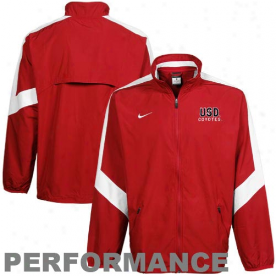 Nike South Dakota Coyotes Red Backfield Woven Full Zip Performance Jacket