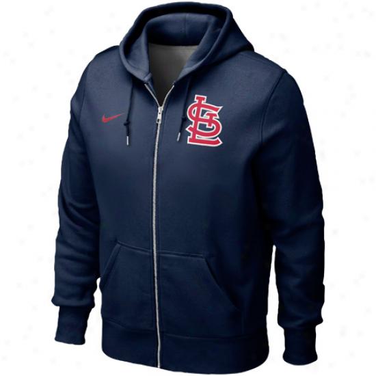 Nike St. Louis Cardianls Classic Full Zip Hoodie - Navy Blue