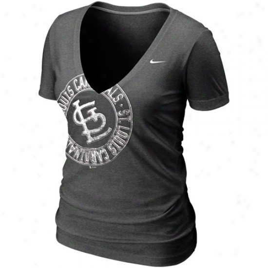 Nike St. Louis Cardinals Ladies Mysterious V Offset Logo Premium T-shirt - Charcoal
