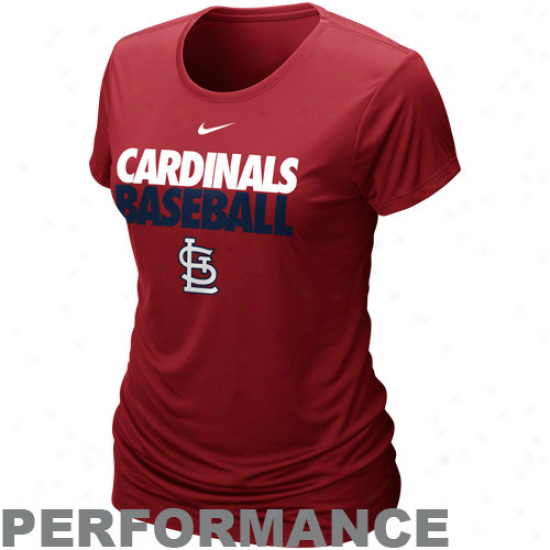 Nike St. Louis Cardinals Ladies Dri-fit Cotton Performance T-shirt - Red