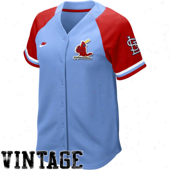 Nike St. Louis Cardinals Women's Light Blue-red Cooperstown Quick Pick Vintage Baseball Jersey