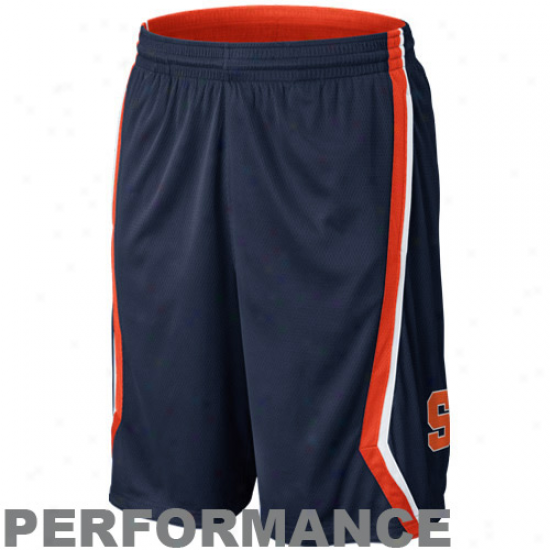 Nike Syracuse Orange Greek  Reversible Performance Basketball Shorts - Navy Blue/orange