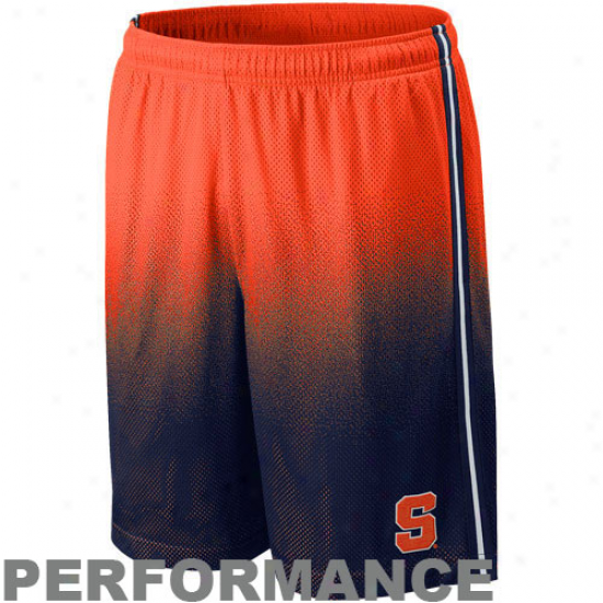 Nike Syracuse Orange Navy Blue-orange Fade Lacrosse Training Performance Shorts