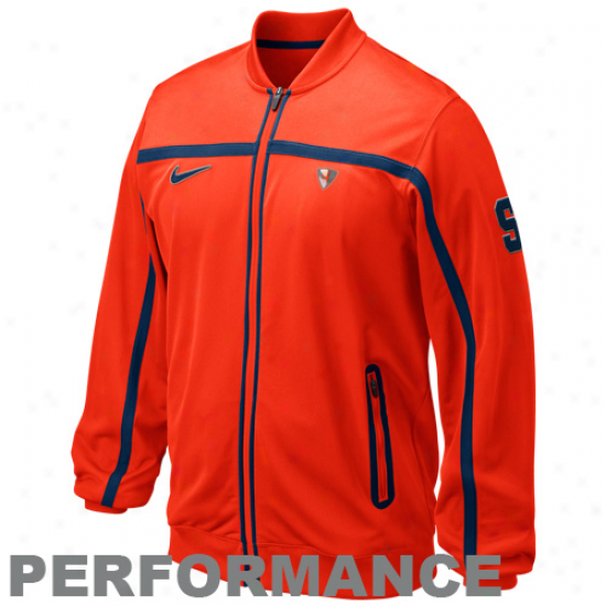 Nike Syracuse Orange Orange Elite Baskstball Big Gaje Full Zip Performance Jacket