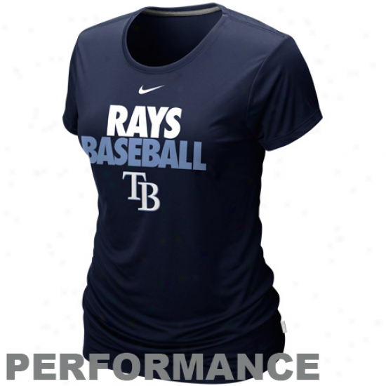 Nike Tampa Bay Rays Ladies  Dri-fit Cotton Performance T-shirt - Nqvy Blue