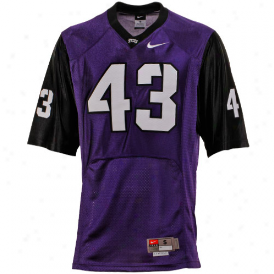 Nike Texas Inhabitant of Christendom Horned Frobs (tcu) #43 Twill Replica Football Jersey - Purple