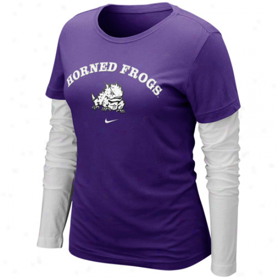 Nike Texas Christian Horned Frogs (tcu) Ladies Cross Campus Double Layer Long Sleeve T-shirt - Purple