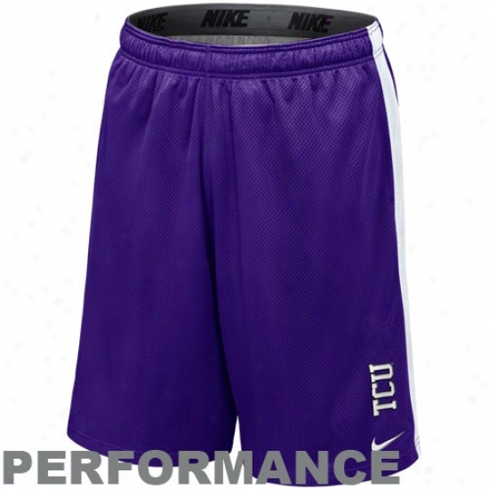 Nike Texas Christian Horned Frogs (tcu) Purple-white Varsity Mesh Performance Shorts